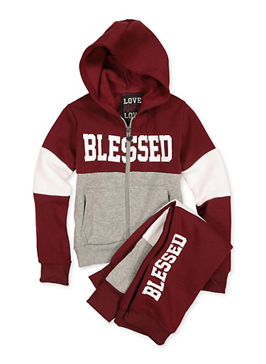Girls 4-6x Blessed Sweatshirt and Joggers,WINE,large