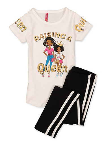 Girls 4-6x Raising A Queen Tee with Leggings,WHITE,large