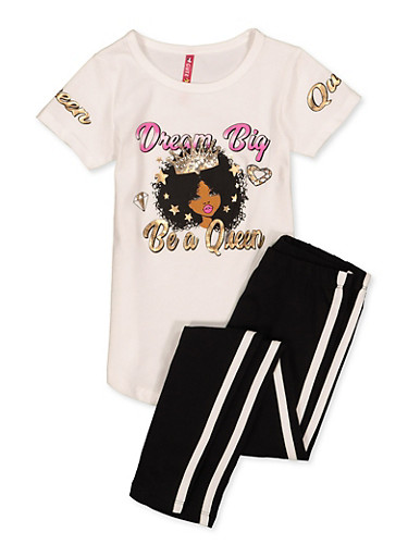 Girls 4-6x Dream Big Be A Queen Tee with Leggings,WHITE,large