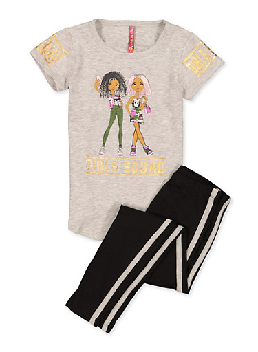 Girls 4-6x Girls Squad Tee and Leggings Set,HEATHER,large