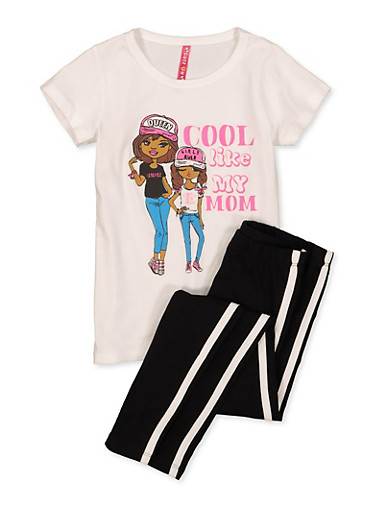 Girls 4-6x Cool Like My Mom Tee with Leggings,BLACK/WHITE,large