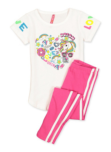 Girls 4-6x Love Unicorn Graphic Tee and Leggings Set,WHITE,large