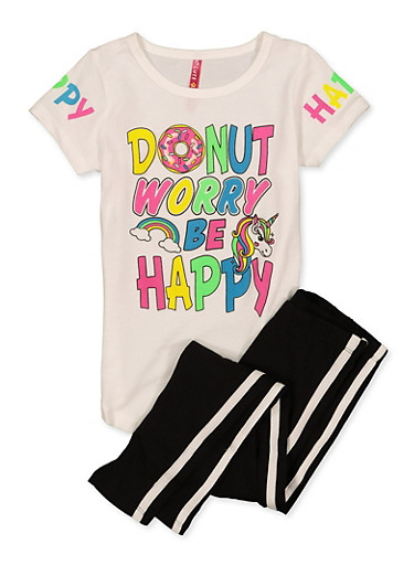 Girls 4-6x Donut Worry Be Happy Tee and Leggings Set,WHITE,large