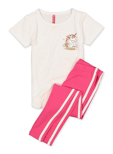 Girls 4-6x Follow Your Dream Tee and Leggings,WHITE,large