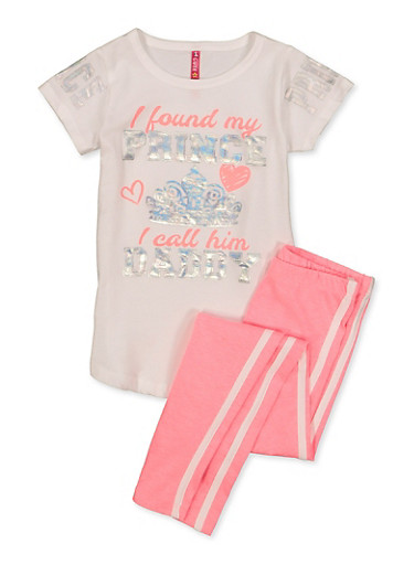 Girls 4-6x I Found My Prince I Call Him Daddy Tee with Leggings,WHITE,large