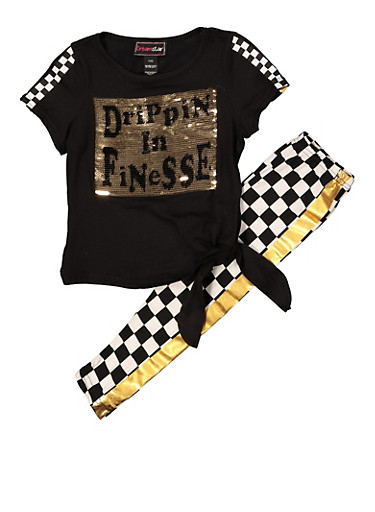 89ad1d494abd4 Girls 4-6x Sequin Graphic Tee and Checkered Leggings,BLACK/WHITE,large