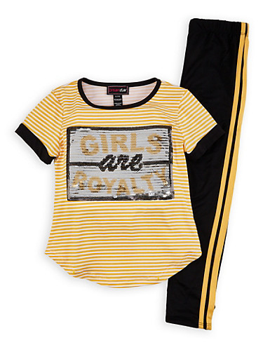 Girls 4-6x Girls Are Royalty Sequin Tee and Leggings Set,MUSTARD,large