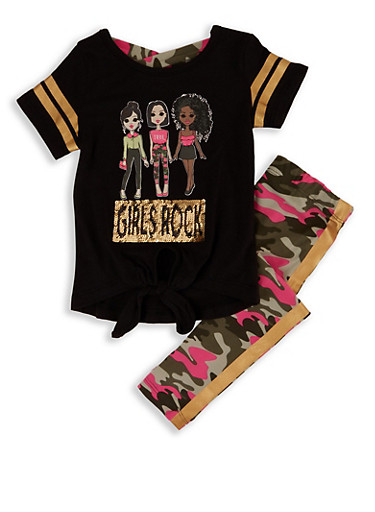 Girls 4-6x Girls Rock Graphic Tee and Camo Leggings,BLACK,large