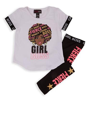 Girls 4-6x Girl Boss Sequin Graphic Tee and Leggings,WHITE,large