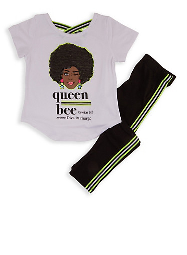 Girls 4-6x Queen Bee Sequin Graphic Tee and Leggings,WHITE,large