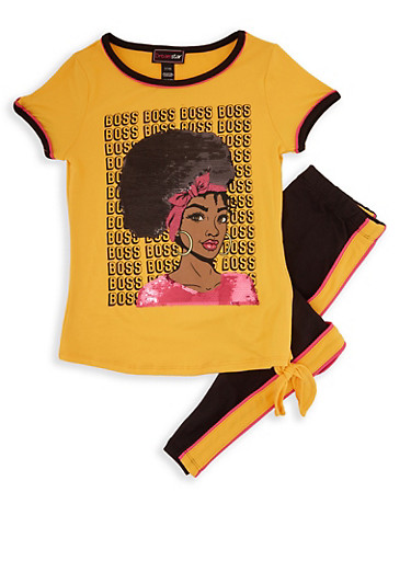 Girls 4-6x Boss Sequin Graphic Tee and Leggings,MUSTARD,large