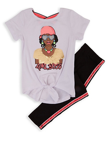 Girls 4-6x Sequin Girl Boss Top and Leggings,WHITE,large