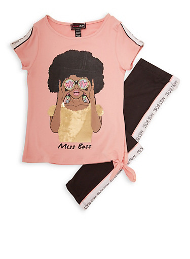 Girls 4-6x Miss Boss Sequin Graphic Tee and Leggings,MAUVE,large