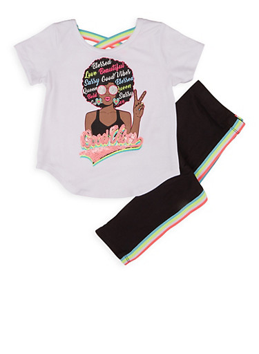 Girls 4-6x Blessed Sequin Graphic Tee and Leggings,WHITE,large