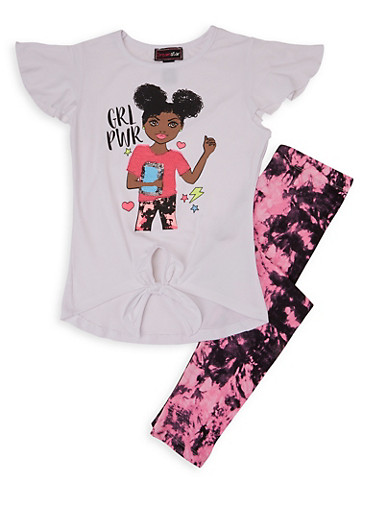 Girls 4-6x Grl Power Sequin Graphic Tee and Leggings,WHITE,large