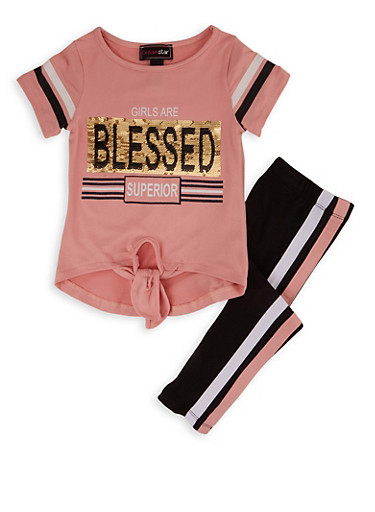 Girls 4-6x Blessed Sequin Top with Leggings,MAUVE,large