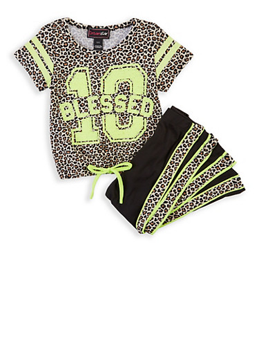 Girls 4-6x Blessed Sequin Leopard Top with Leggings,TAN,large