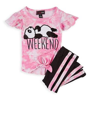 Girls 4-6x Panda Tie Dye Top with Leggings,MULTI COLOR,large