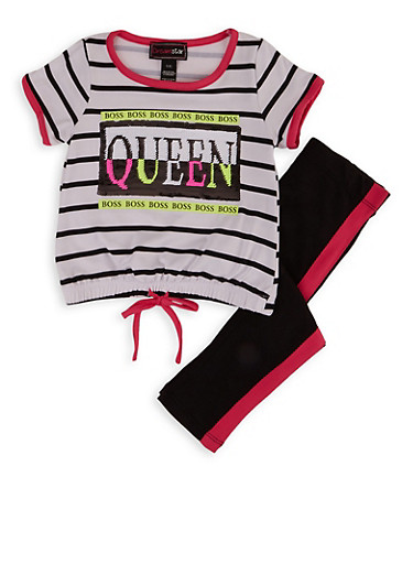 Girls 4-6x Queen Boss Sequin Striped Top with Leggings,WHITE,large