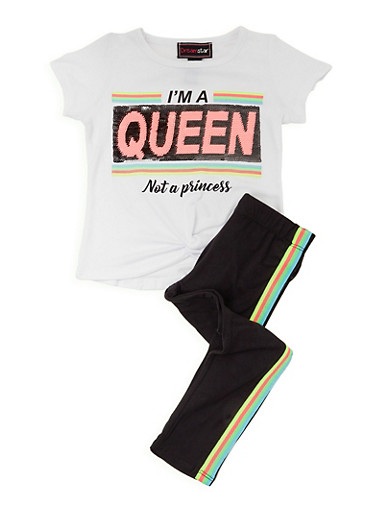 Girls 4-6x Im A Queen Not A Princess Tee and Leggings Set,WHITE,large