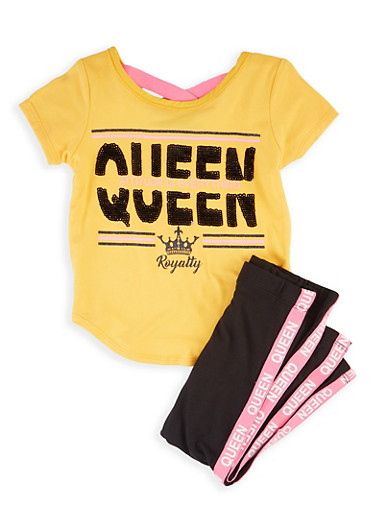 Girls 4-6x Queen Royalty Tee and Leggings,MUSTARD,large