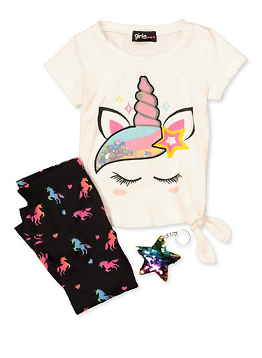 Little Girls Unicorn Sequin Detail Tee with Leggings,MULTI COLOR,large