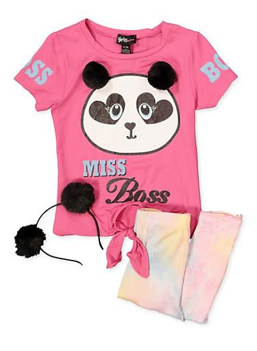 Little Girls Miss Boss Top and Leggings Set,MULTI COLOR,large
