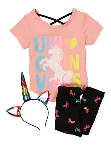 Little Girls Unicorn Vibes Top and Leggings Set,MULTI COLOR,large