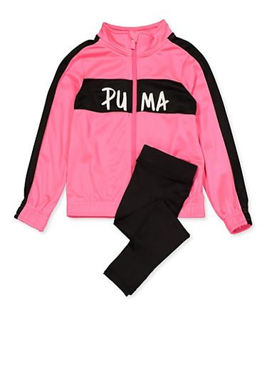 Girls 4-6x Puma Track Jacket and Leggings Set,PINK,large