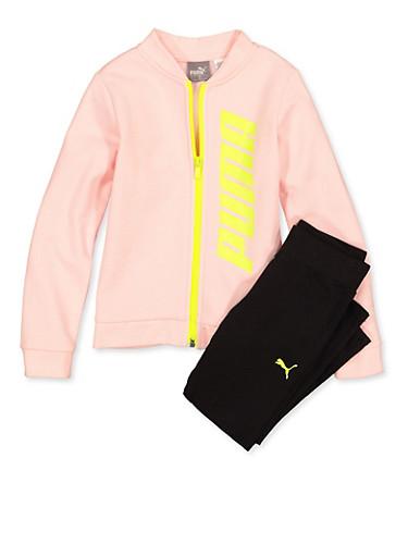 Girls 4-6x Puma Sweatshirt and Leggings Set,PINK,large