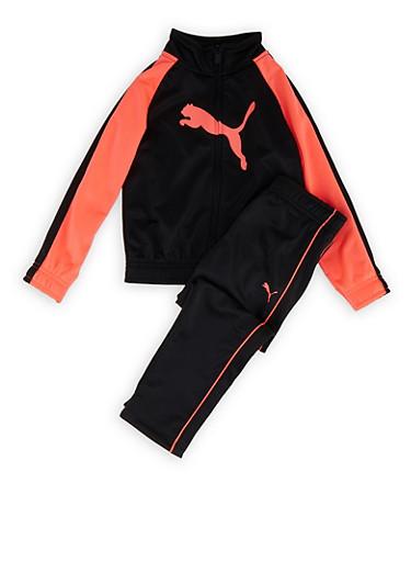 Girls 4-6x Puma Color Block Track Jacket and Pants Set,BLACK,large