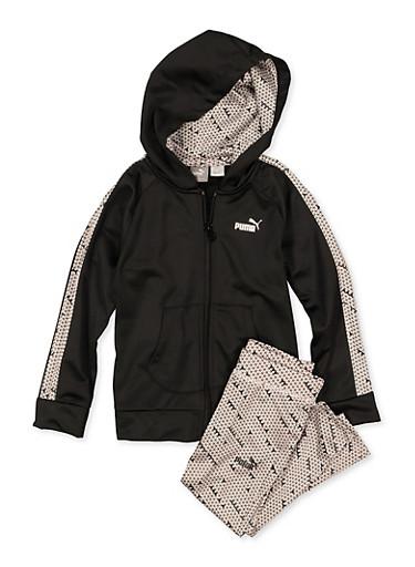 Girls 4-6x Puma Geometric Tape Zip Jacket with Leggings,BLACK,large