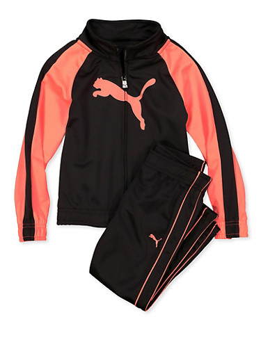 Girls 4-6x Puma Color Block Track Jacket and Pants,BLACK,large