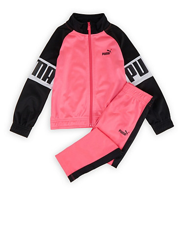 Girls 4-6x Puma Sleeve Detail Track Jacket and Pants Set,PINK,large