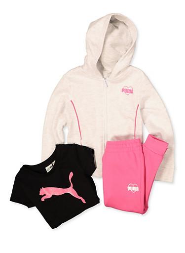 Little Girls Puma Heart Logo Sweatshirt and Joggers Set,WHITE,large