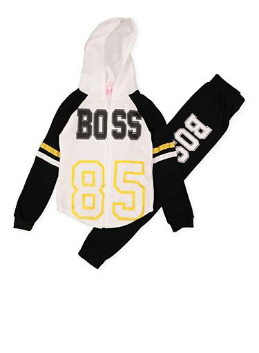 Girls 7-16 Boss Sweatshirt and Joggers,BLACK,large