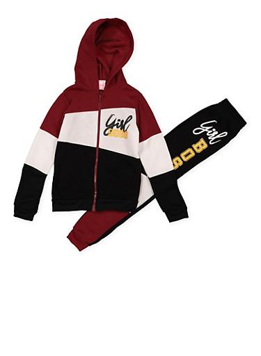 Girls 7-16 Girl Boss Color Block Sweatshirt and Joggers,WINE,large