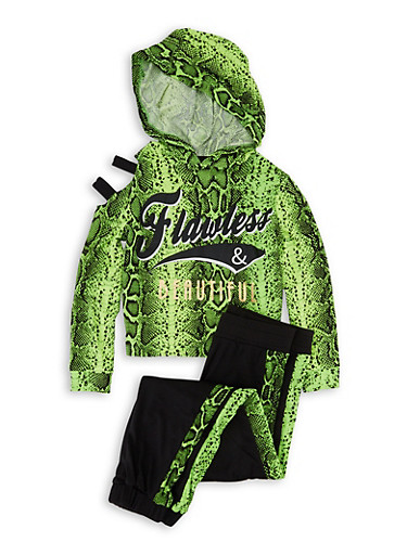Girls 7-16 Flawless Snake Print Hooded Top and Joggers,NEON LIME,large