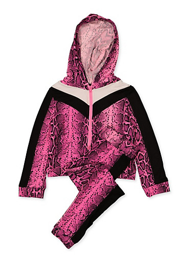 Girls 7-16 Snake Print Hooded Top and Joggers Set,NEON PINK,large