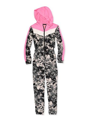 Girls 7-16 Tie Dye Hooded Jumpsuit,BLACK,large
