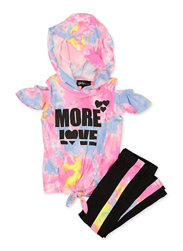 Girls 7-16 More Love Top and Leggings Set,PINK,large