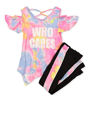 Girls 7-16 Who Cares Cold Shoulder Top and Leggings,PINK,large