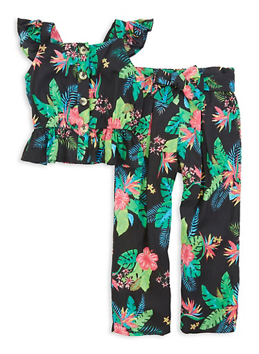 Girls Tropical Print Sleeveless Top and Belted Pants,BLACK,large