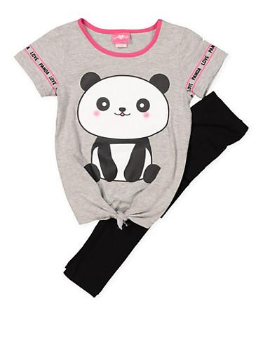 Girls 7-16 Panda Graphic Tee and Leggings,HEATHER,large