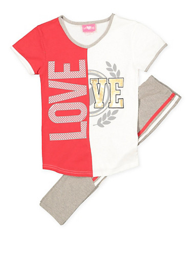 Girls 7-16 Love Tee and Active Pants Set,RED,large