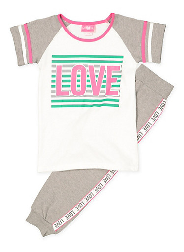 Girls 7-16 Love Tee and Joggers Set,GRAY,large
