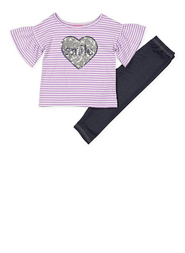 Girls 7-16 Smile Sequin Heart Tee with Leggings,LAVENDER,large