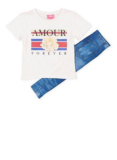 Girls 7-16 Amour Forever Tee with Denim Print Leggings,RED,large