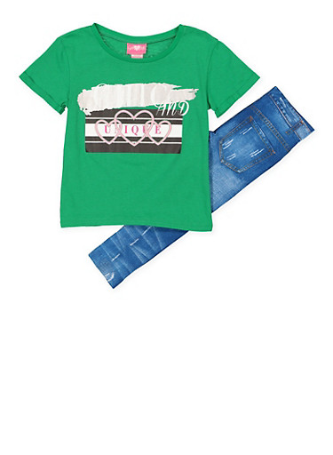 Girls 7-16 Chic and Unique Tee with Denim Print Leggings,GREEN,large