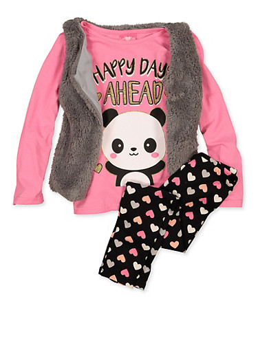 Girls 7-16 Happy Days Ahead Tee with Leggings and Vest,GRAY,large